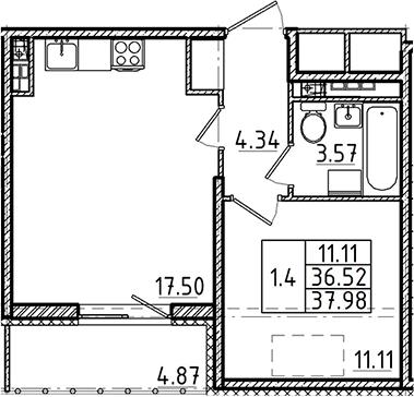 2Е-к.кв, 36.52 м², 5 этаж