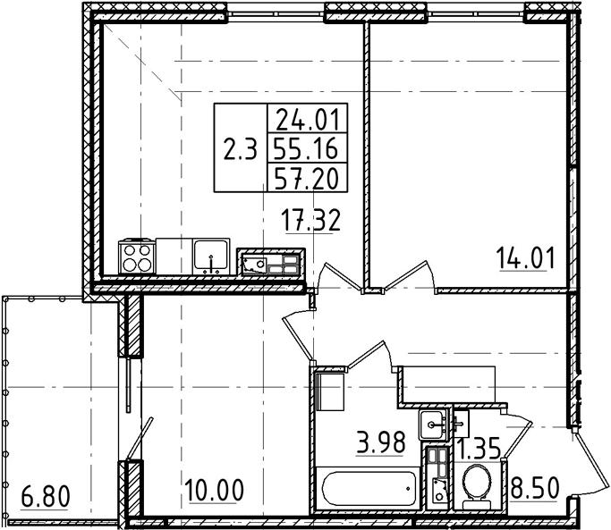 3Е-к.кв, 57.2 м²