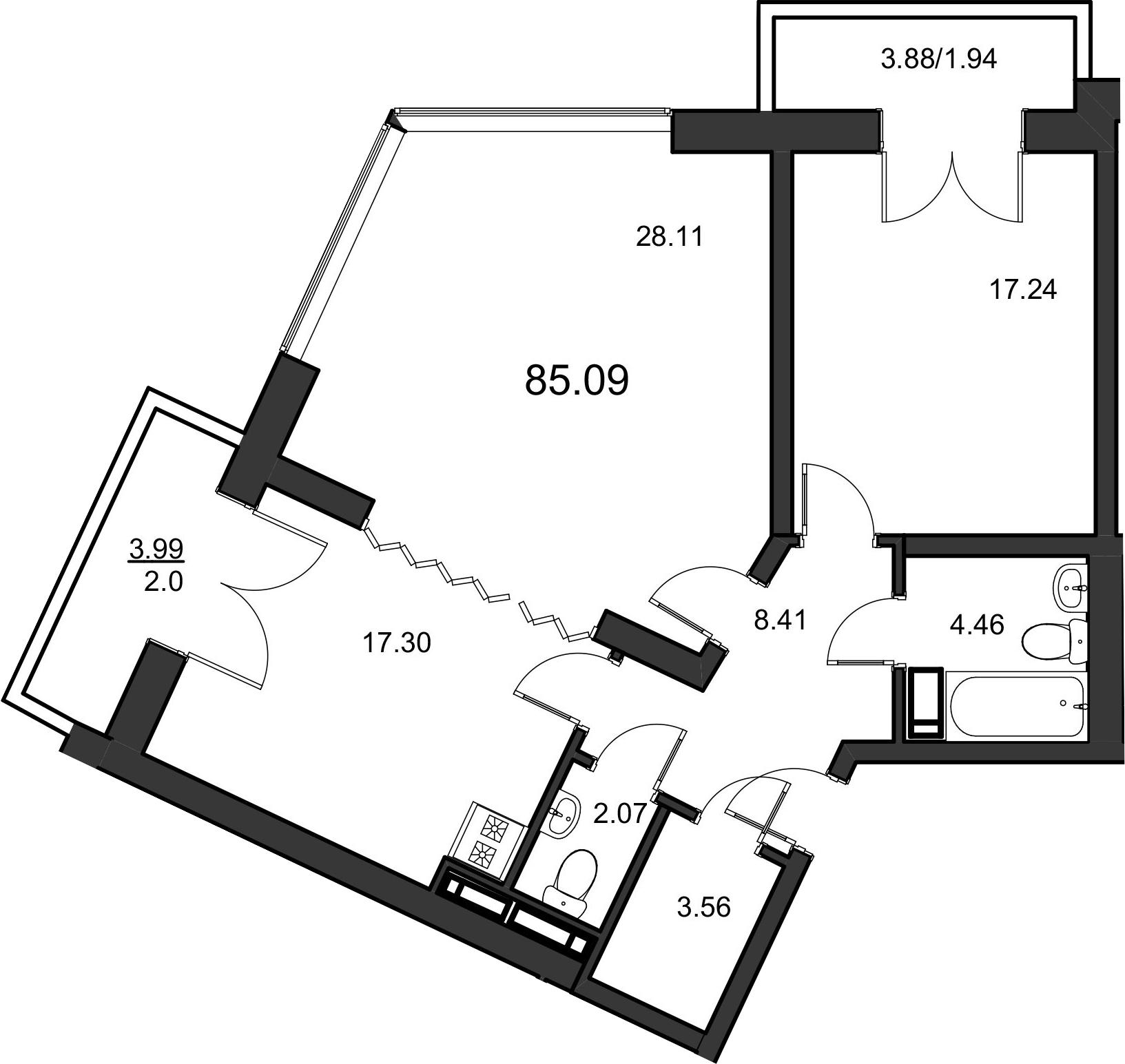 2-комнатная, 85.09 м²– 2