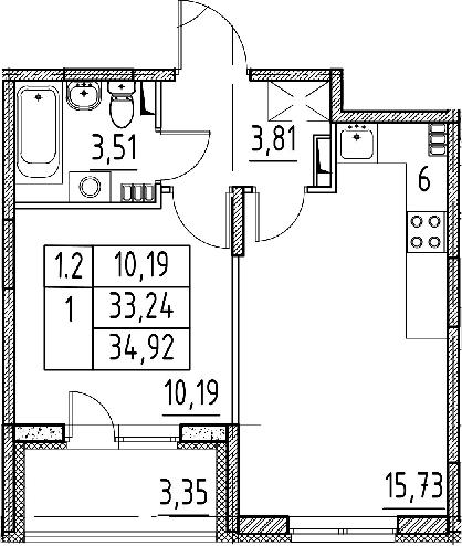 2Е-к.кв, 33.24 м²