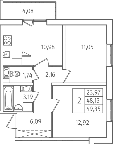 2-к.кв, 52.21 м²