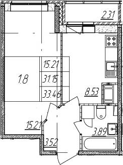 1-комнатная, 31.15 м²– 2