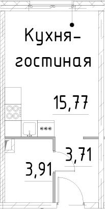 Студия, 23.39 м²