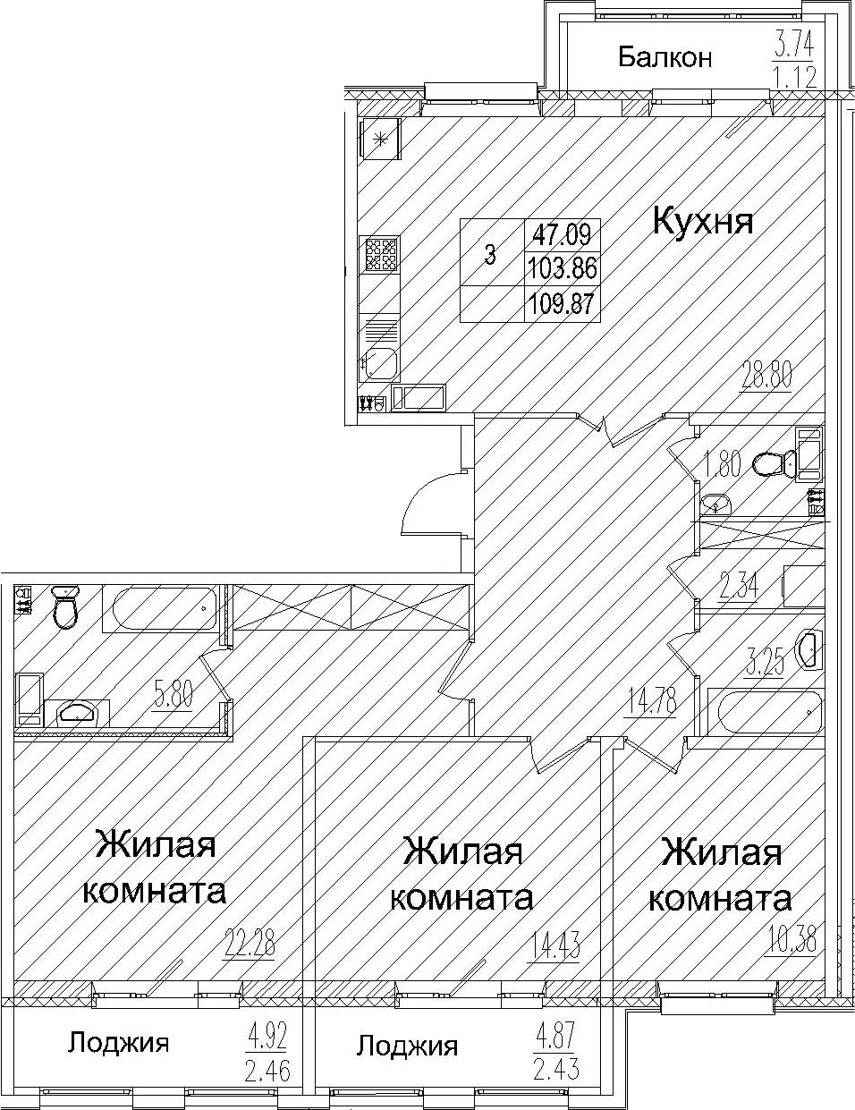 4Е-к.кв, 109.87 м², 5 этаж