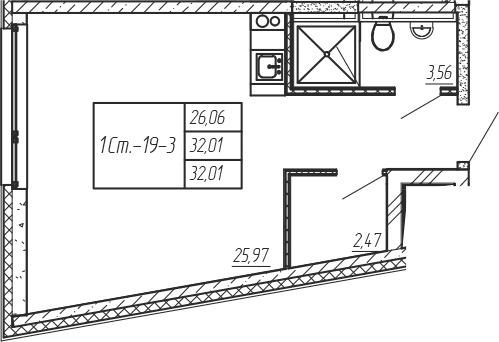 Студия, 32.01 м²– 2