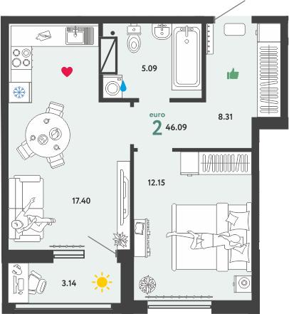 2Е-к.кв, 46.09 м², 6 этаж