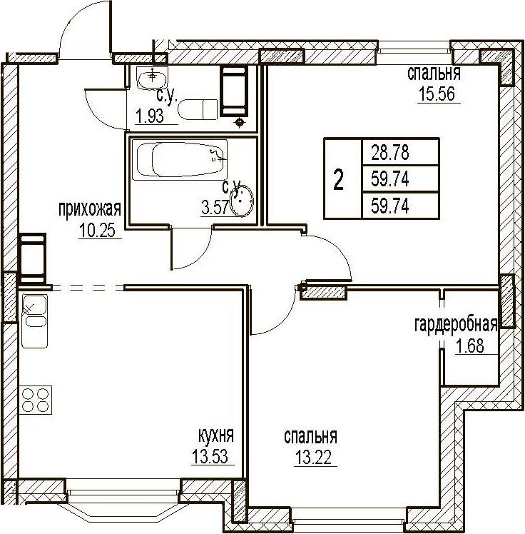 2-комнатная, 59.74 м²– 2