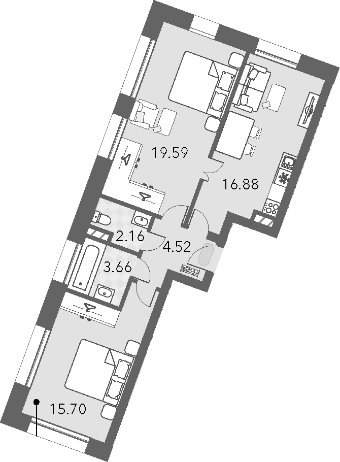 3Е-комнатная, 62.51 м²– 2