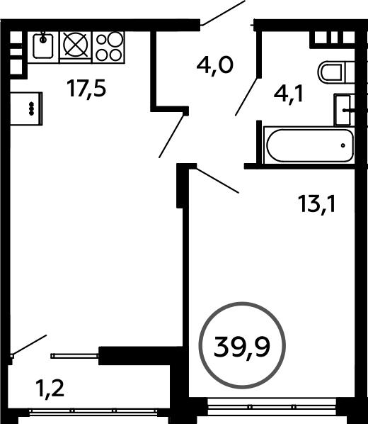 2Е-комнатная, 39.9 м²– 2