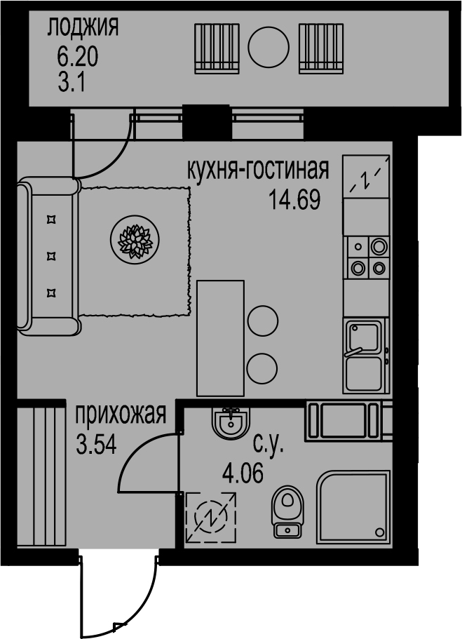 Студия, 28.49 м²