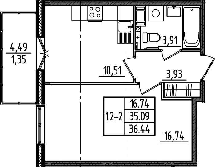 1-к.кв, 36.44 м²