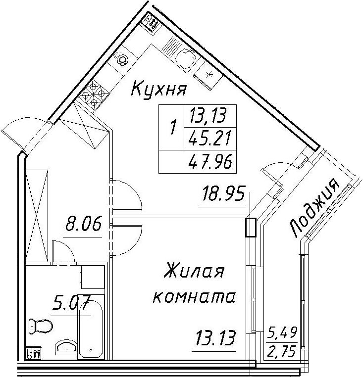 2-к.кв (евро), 50.71 м²