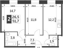 2-комнатная, 51.7 м²– 2