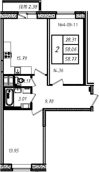 3-к.кв (евро), 60.43 м²