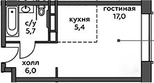 Студия, 34.1 м²– 2