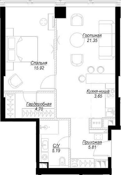 2Е-комнатная, 56.63 м²– 2