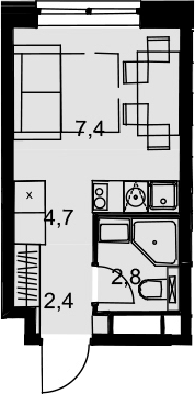 Студия, 17.3 м²