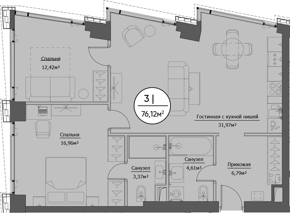 3Е-к.кв, 76.12 м²