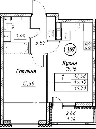 2Е-к.кв, 36.73 м², от 3 этажа