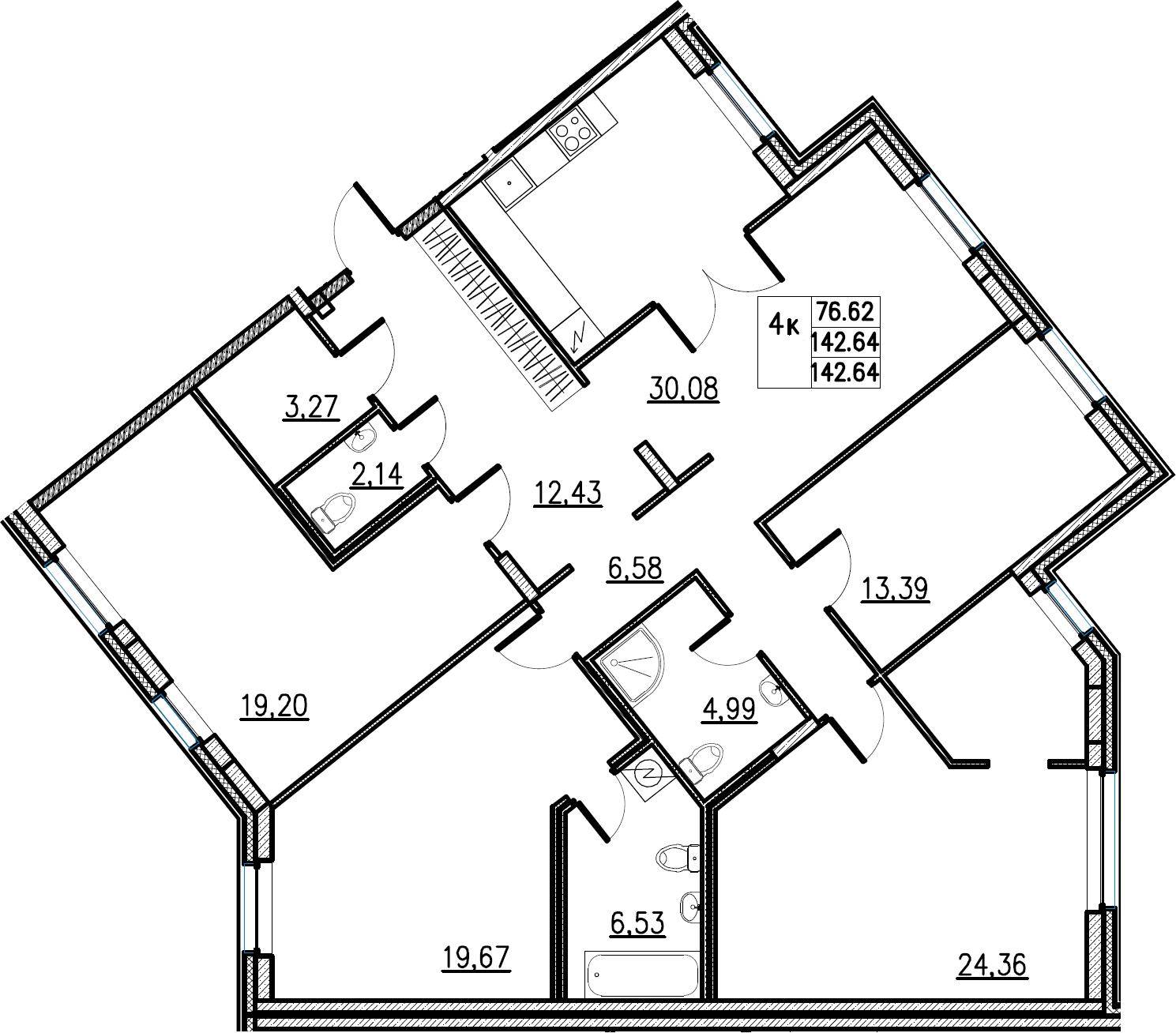 5Е-комнатная, 142.64 м²– 2