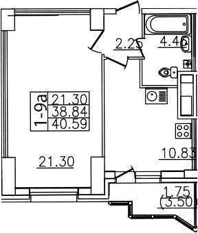 1-комнатная, 40.59 м²– 2