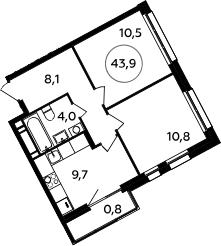 2-к.кв, 43.9 м²