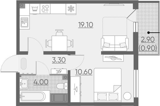 2Е-комнатная, 37.9 м²– 2