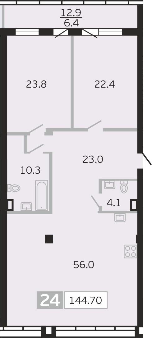 3Е-к.кв, 144.7 м², 7 этаж