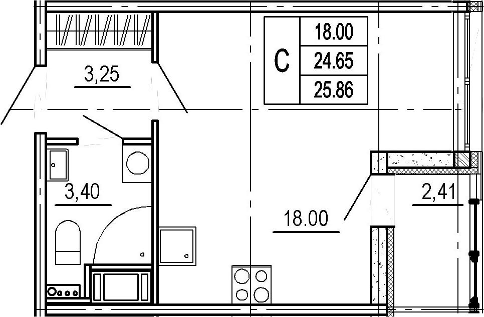 Студия, 24.65 м²