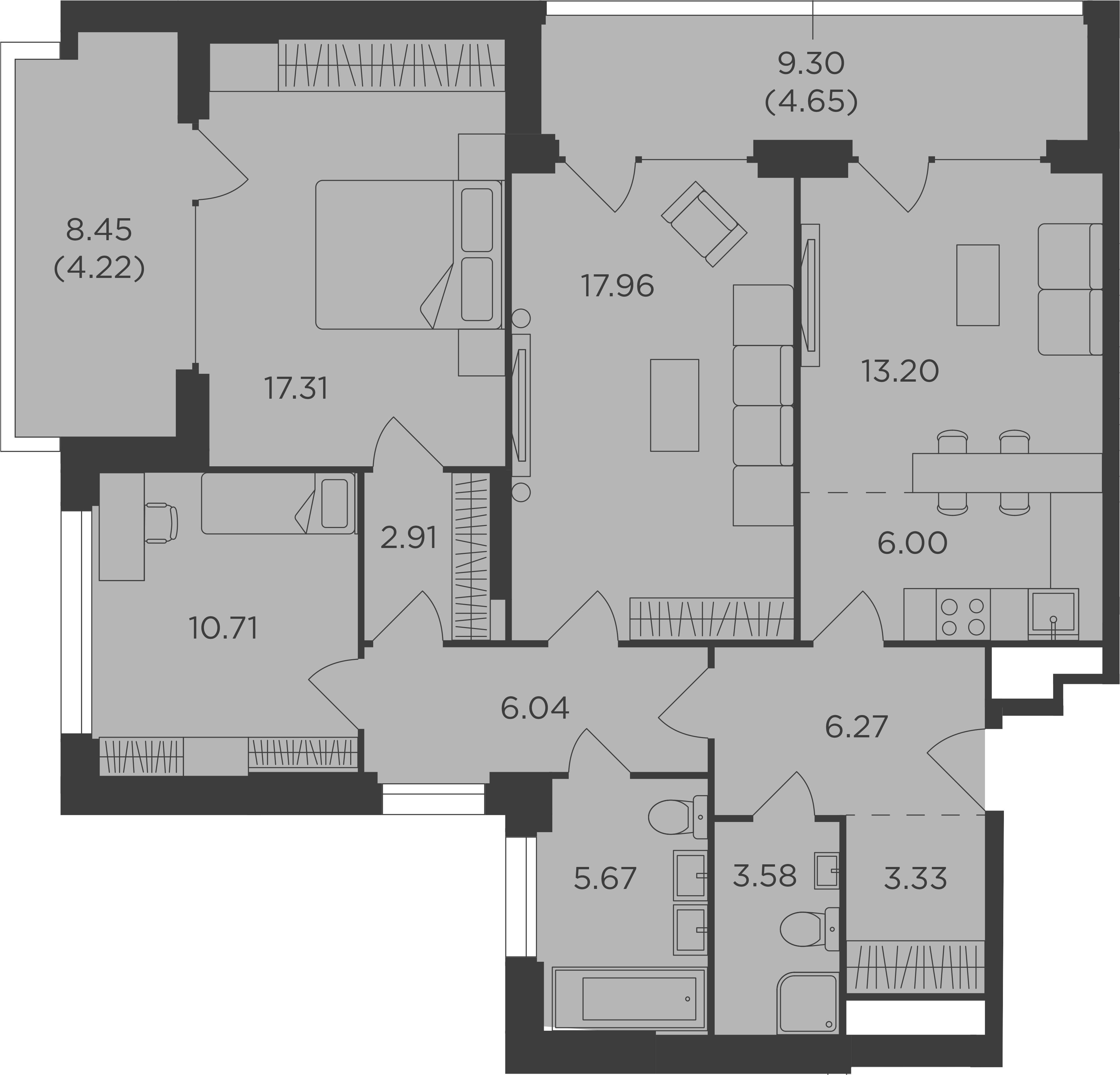 4Е-комнатная, 101.85 м²– 2
