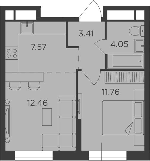 2Е-к.кв, 39.25 м²
