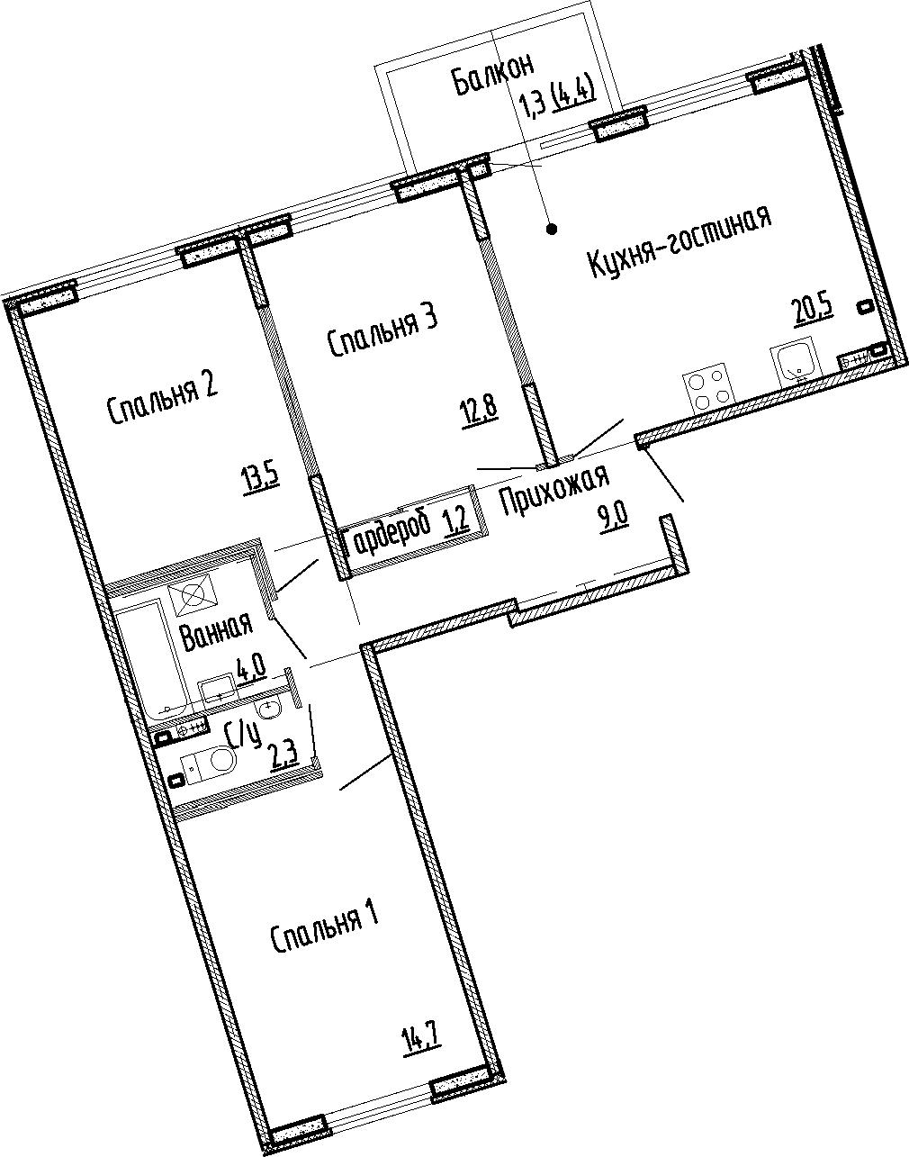 4Е-комнатная, 78 м²– 2