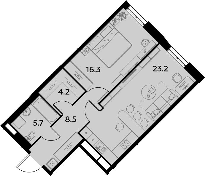 2Е-к.кв, 57.9 м²