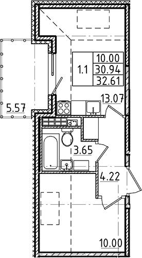 2Е-к.кв, 30.94 м²