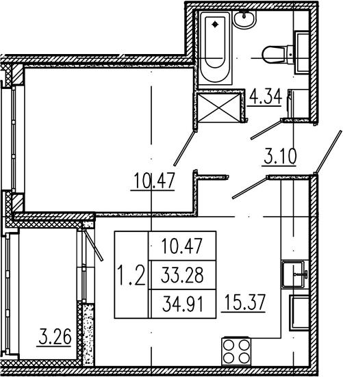 2Е-комнатная, 33.28 м²– 2