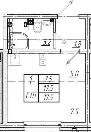 Студия, 17.5 м², 1 этаж
