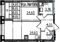 1-к.кв, 39.01 м², 1 этаж