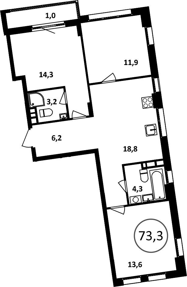 4Е-комнатная, 73.3 м²– 2