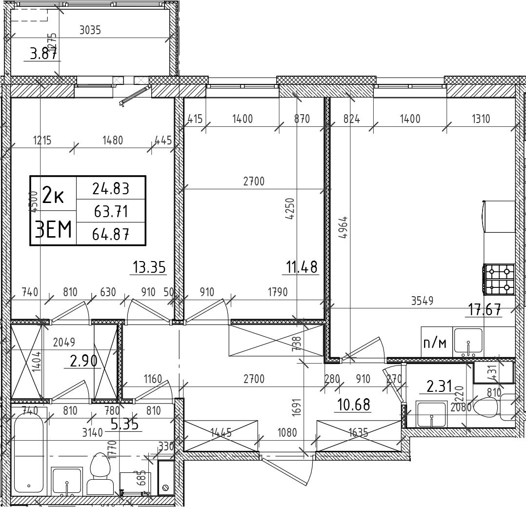 3Е-к.кв, 63.71 м²