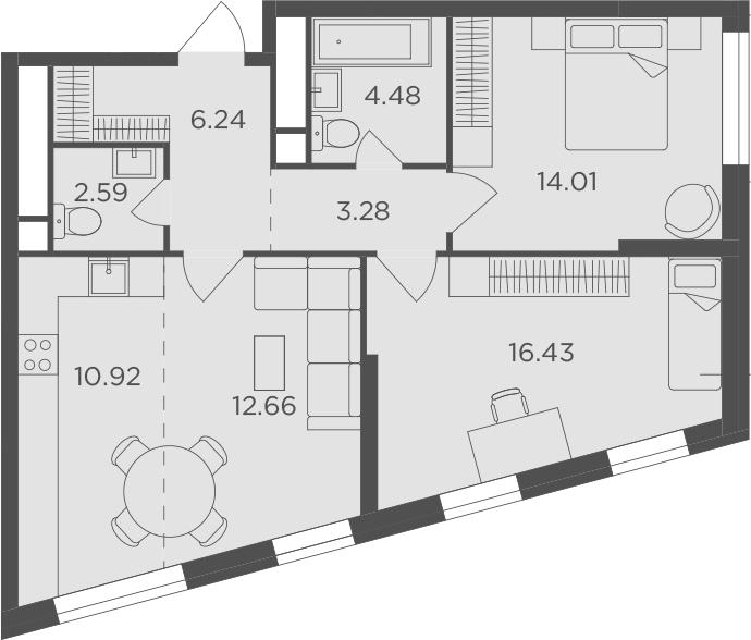 3Е-комнатная, 70.61 м²– 2