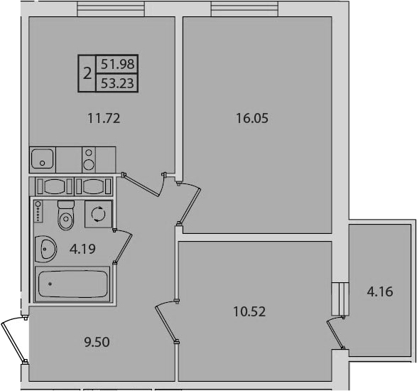 2-к.кв, 53.23 м², 16 этаж