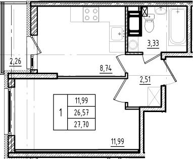 1-к.кв, 26.57 м², 2 этаж