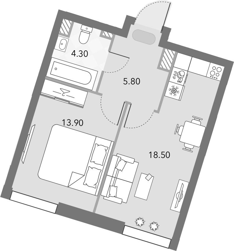 2Е-комнатная, 42.5 м²– 2