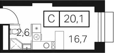 Студия, 20.1 м²
