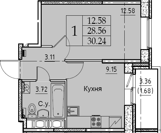 1-к.кв, 30.24 м²