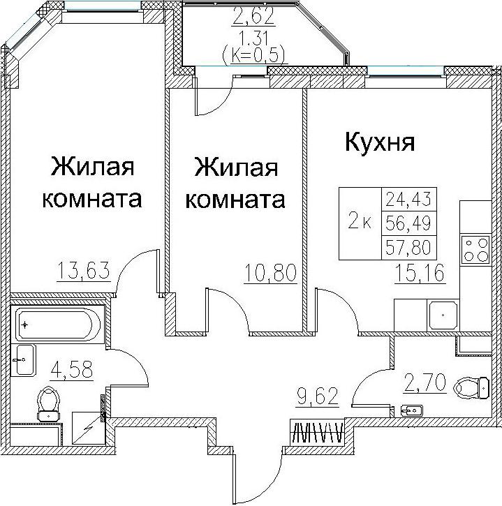 3-к.кв (евро), 59.11 м²