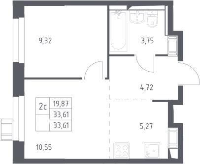 2Е-к.кв, 33.61 м²