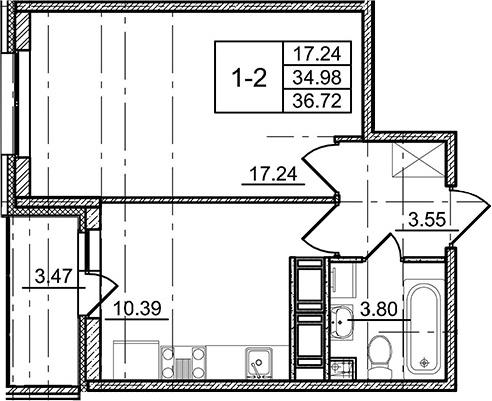 1-к.кв, 38.45 м²