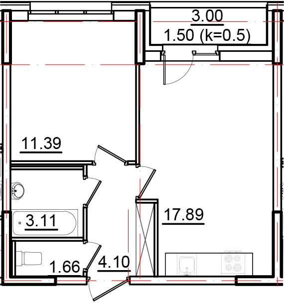 2Е-к.кв, 39.65 м²