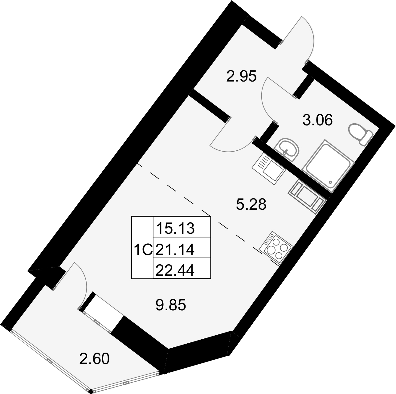 Студия, 22.44 м²